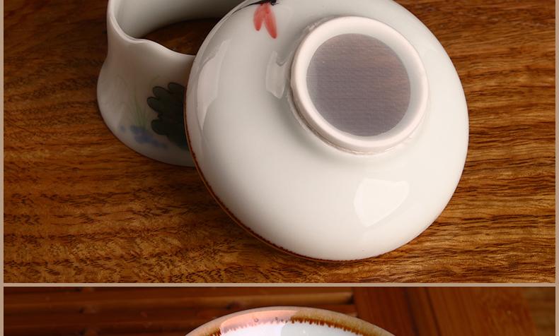 雪狼 荷韵 手绘陶瓷 整套功夫茶具套装 茶杯 茶壶 茶漏 sbd y 荷韵