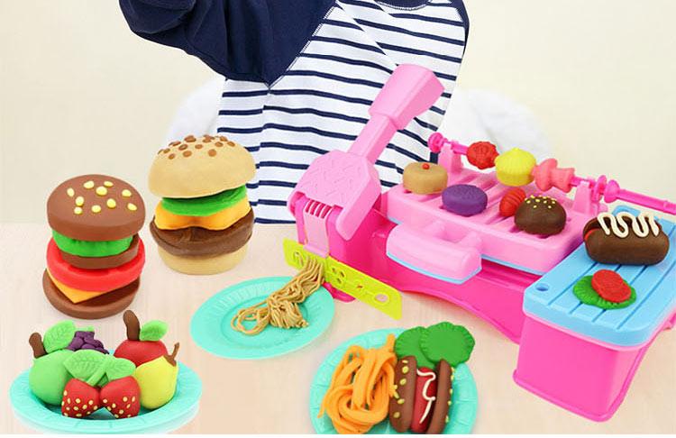 儿童女孩手工制作橡皮泥模具工具套装3d彩泥面条机压面机玩具 雪糕机