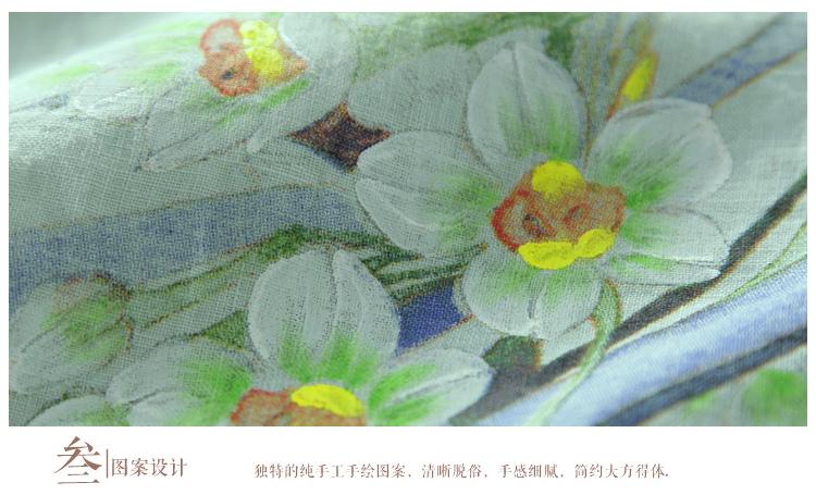墨迹2015新款夏季手绘中国风长款中式汉服亚麻连衣裙文艺范复古女