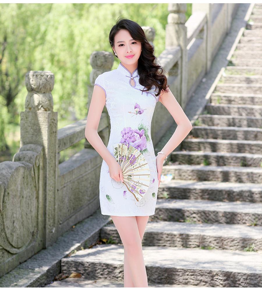 晟阳依族 2016夏装新款韩版修身显瘦手绘复古改良旗袍