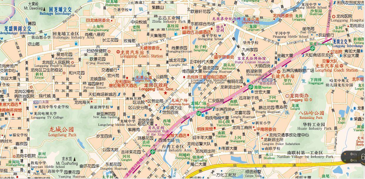 深圳市地图 深圳城区街道图(中英文办公室挂图)挂图尺寸1.