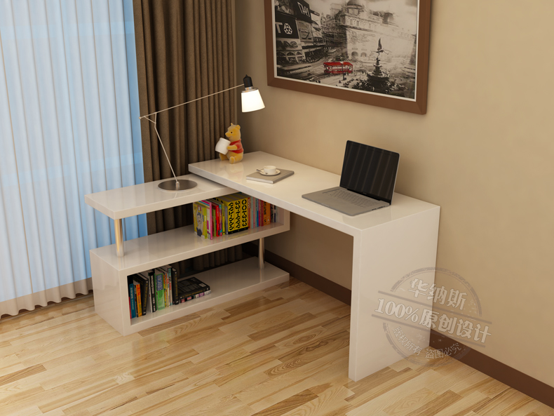 电脑桌书桌一体设计图展示图片