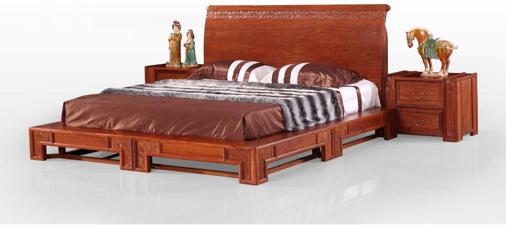 龙森 卧室家具套装 新中式家具实木床 红木床 双人大床 富贵祥云雕花