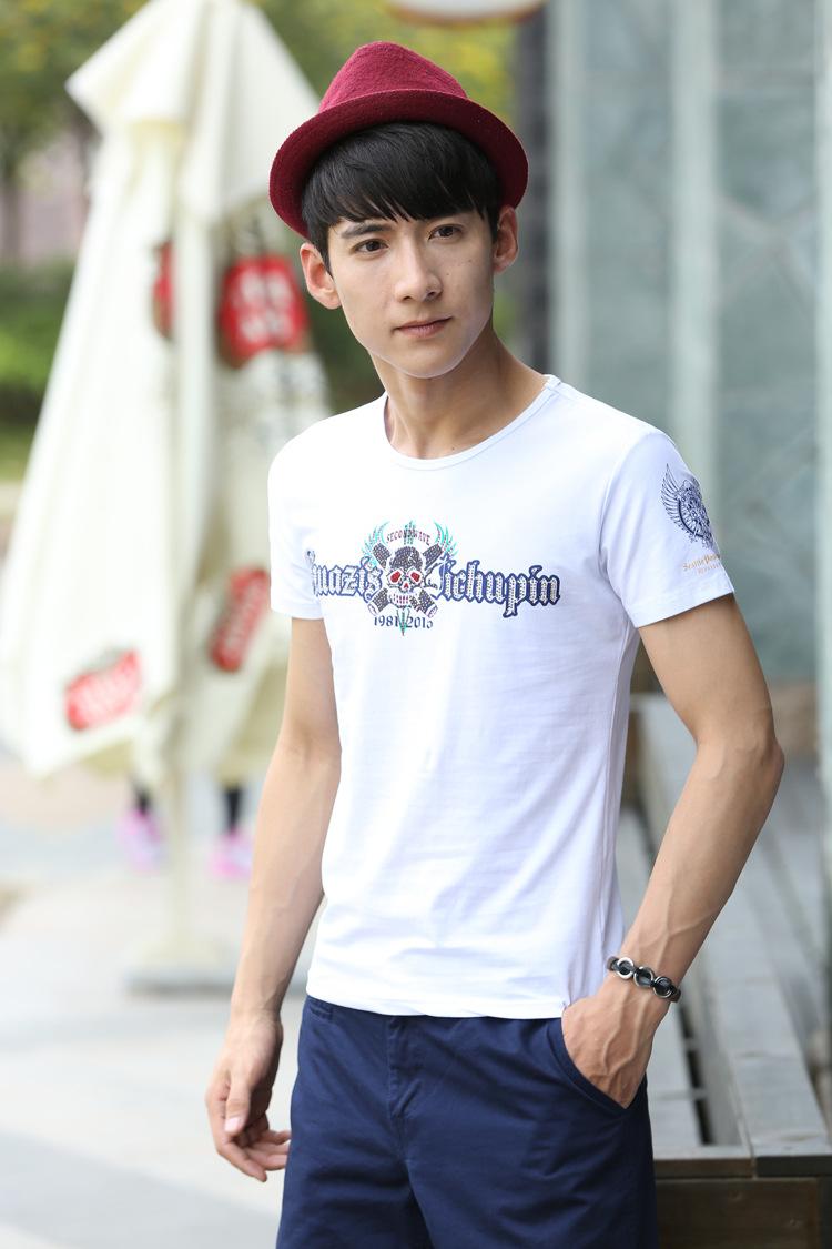 2015夏季男t恤个性印花烫钻骷髅头短袖t恤衫