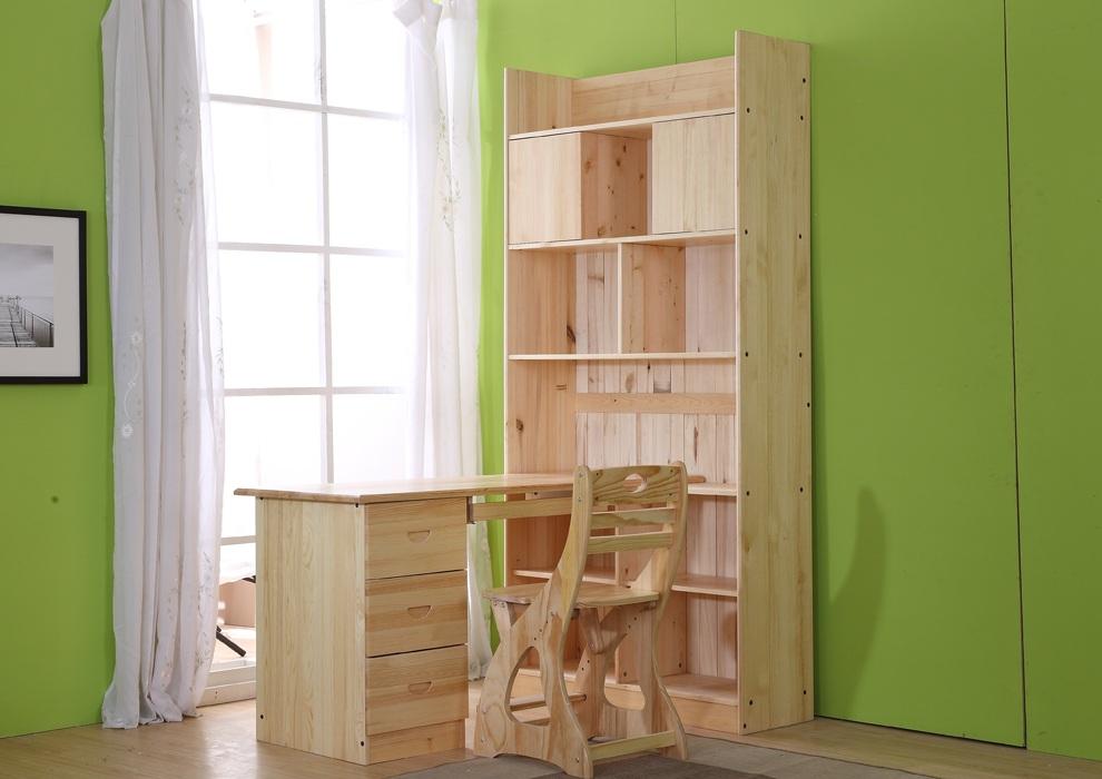 松柏合 实木书桌 松木书桌 转角电脑桌台式 儿童学习桌椅组合套装