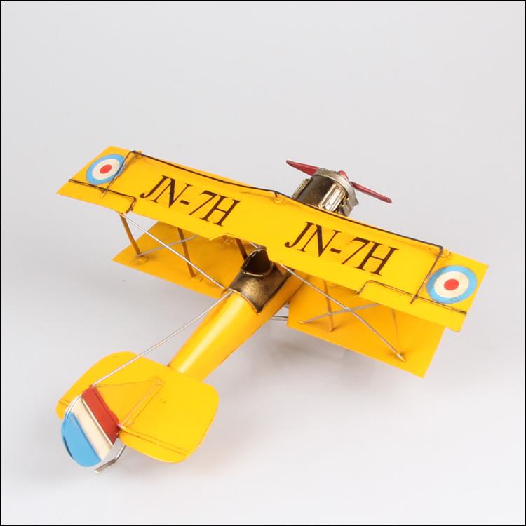 欧式铁皮艺仿真战斗飞机复古模型摆件金属装饰品玩具