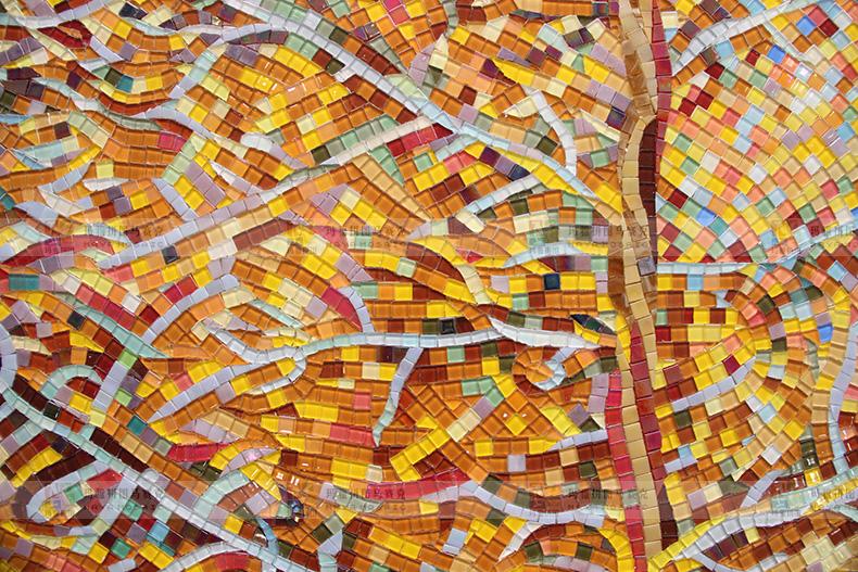 【玛雅拼图】欧式风格秋叶玻璃马赛克精剪切拼图画墙