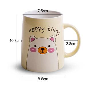 简家 可爱小动物情侣陶瓷杯子 创意马克杯早餐杯牛奶杯水杯k5278 白色