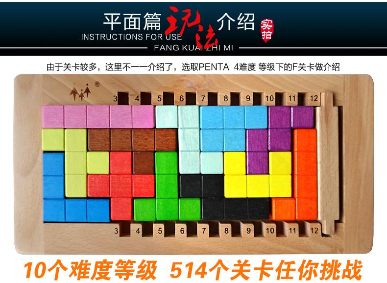平面立体围追堵截益智积木拼图2合1 方块之谜平面篇