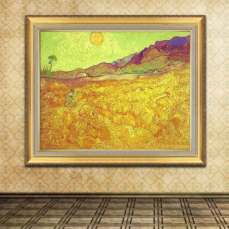 hy 纯手绘客厅风景油画 卧室餐厅装饰画有框画玄关挂画 梵高 丰收 fg