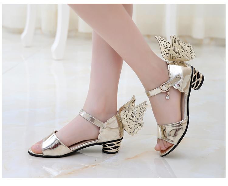 2015时尚韩版夏款翅膀女童公主小高跟鞋舒适凉鞋 儿童