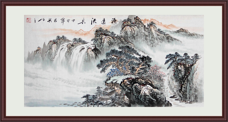 苏雅字画已装裱国画山水画纯手绘作品客厅风水画源远流长 红褐色实木