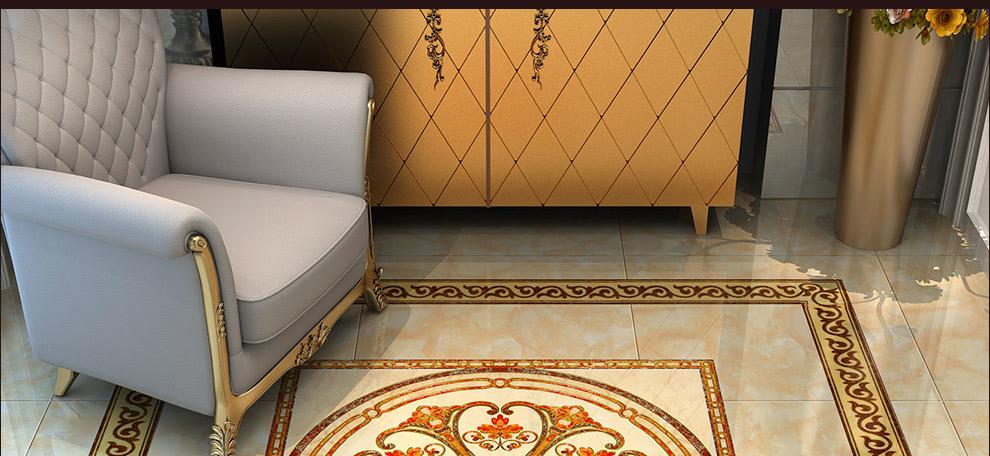 健唯 瓷砖 抛晶砖瓷砖拼图地板砖玄关入户拼花地砖 欧式抛金砖 客厅图片