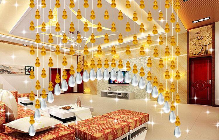 昌辉风水拱形珠帘水晶隔断帘客厅成品挂帘琥珀色弧形过道卧室葫芦门帘