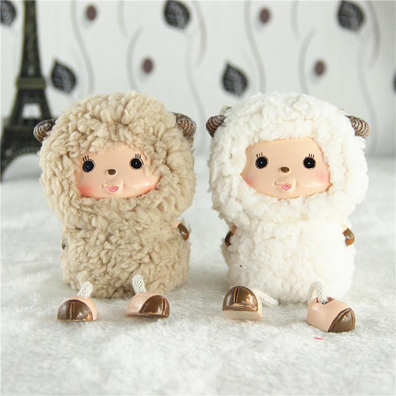羊年可爱卡通绵羊树脂吊脚娃娃 喜洋洋创意礼品 隔板装饰品七夕情人节