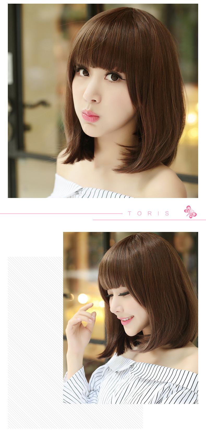 shangke假发 女生短发假发bobo头沙宣头短直发假发套发型 浅棕色