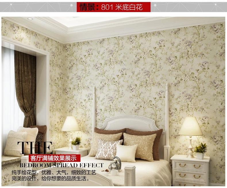 壁创壁纸美式田园风小碎花纯纸墙纸 卧室客厅背景墙壁纸 805绿底红花图片