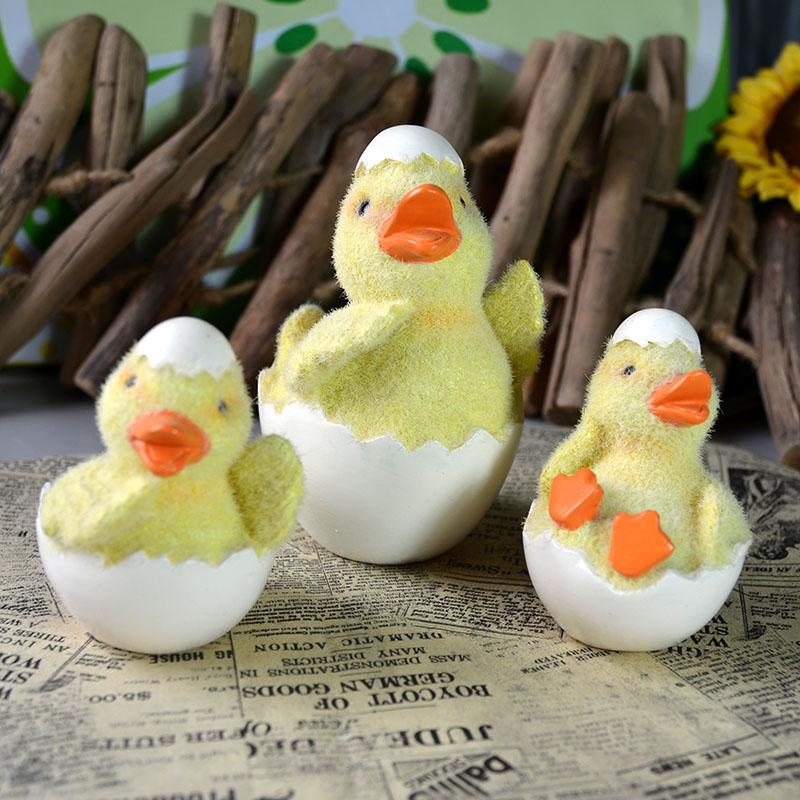 新品树脂毛绒可爱黄色小鸭 破蛋卡通儿童节卧房室内摆件礼物 躺着