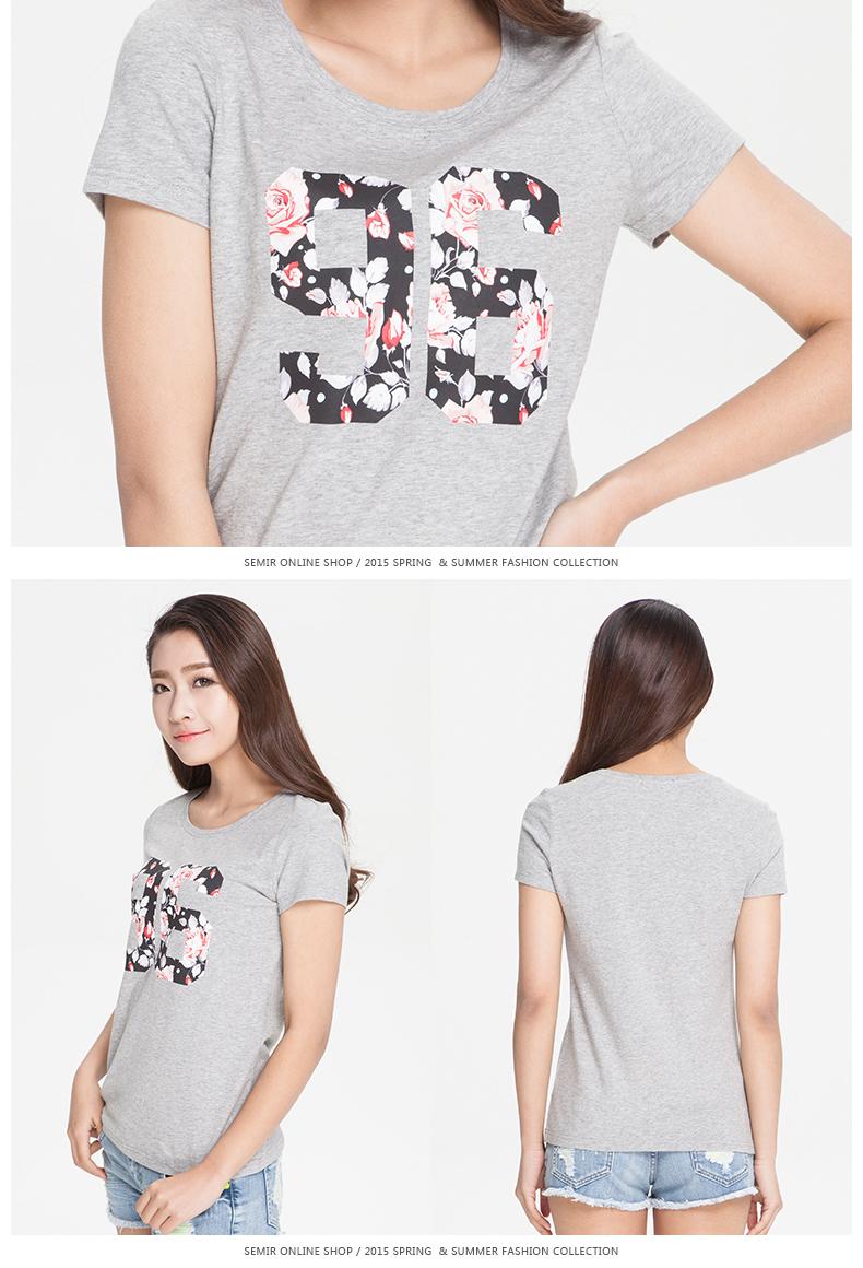 森马短袖t恤 2015夏季新款女装 女士韩版印花圆领套头图片