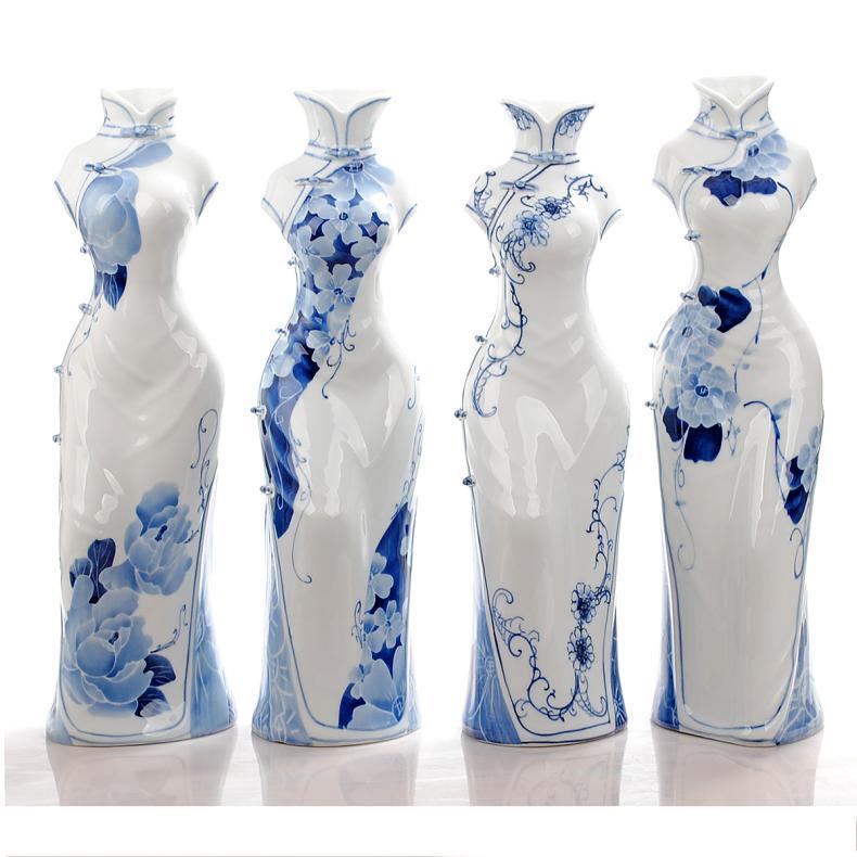 陶瓷器 高档青花手绘旗袍女唐装花瓶 客厅装饰工艺品摆设 f款