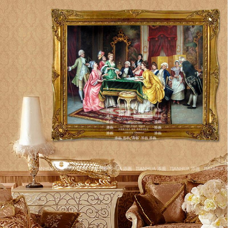 添画 欧式风格人油画纯手绘油画玄关壁炉挂画客厅沙发
