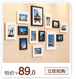 森淼 企业照片墙 创意相片装饰画框相框墙组合 墙饰实木像框架 黑白混