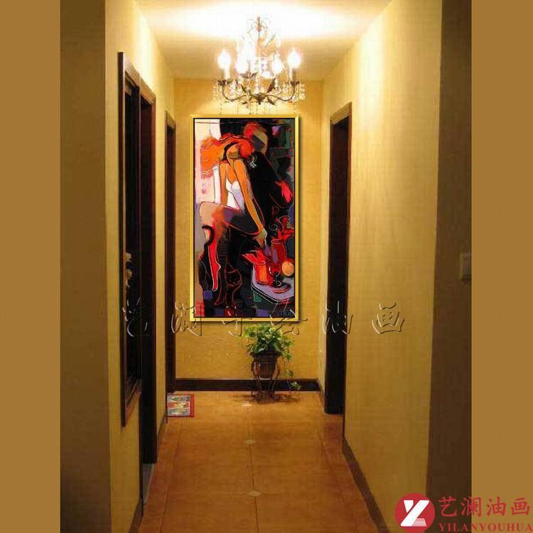 艺澜现代抽象系列手绘画 客厅卧室ktv咖啡厅酒吧走廊过道简约人物kt81