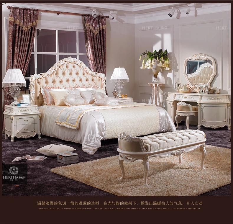赫莎宫廷法式家具欧式实木梳妆台白色新古典妆凳镜子
