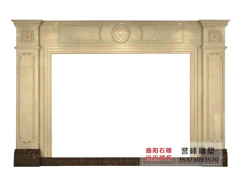 【誉峰雕塑】大理石电视背景墙/方柱子线条背景墙/欧式雕花背景墙