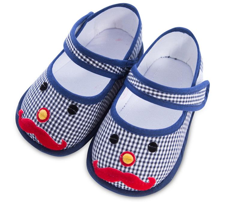 蓝贝璐 0-1岁婴儿鞋纯棉手工布鞋步前宝宝鞋子 蓝色 11码/鞋内长11.