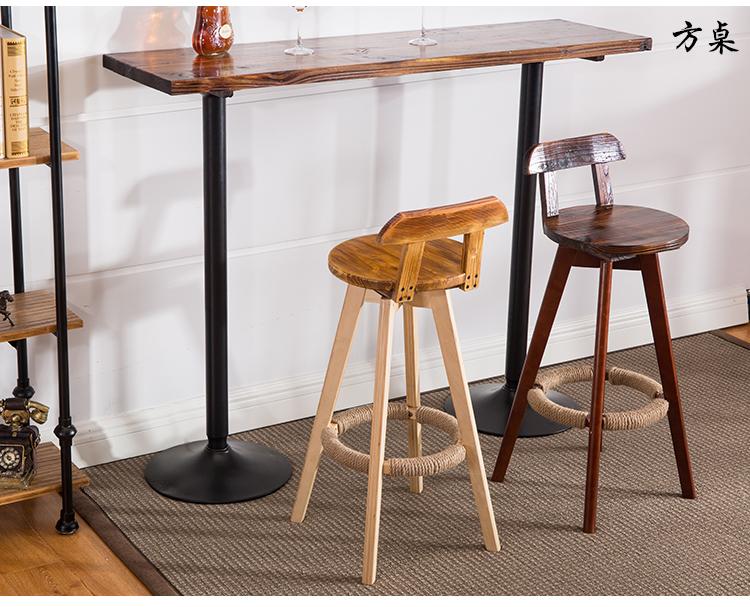阳台复古碳化桌子升降桌吧台桌圆方桌实木桌长条餐桌吧台桌椅组合 120