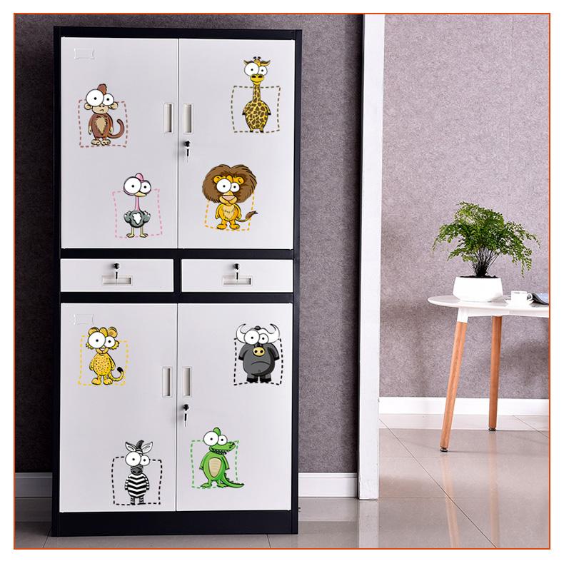 ulknn 动物九宫格可爱动物随心帖客厅冰箱卡通墙贴画