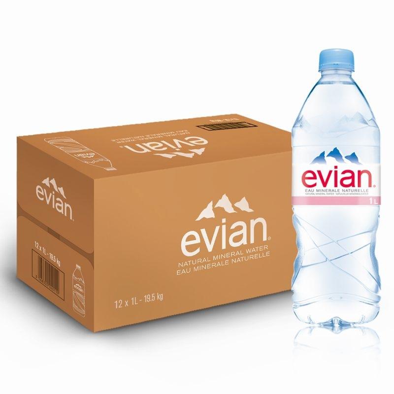 法国进口 达能正品 依云(evian)天然矿泉水 1L*12瓶