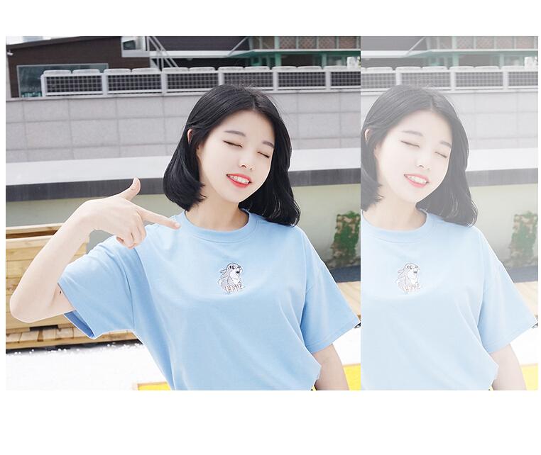 韩国百搭宽松绣花可爱小兔子闺蜜装短袖t恤9217 白色