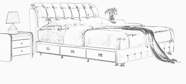 卧室榻榻米床设计手绘图