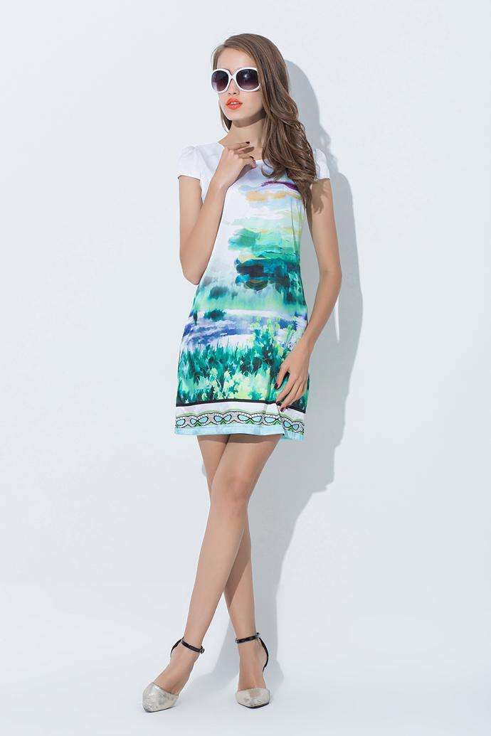 toelaine 真丝连衣裙2015新款夏装修身短袖气质显瘦印花妈妈装打底短图片