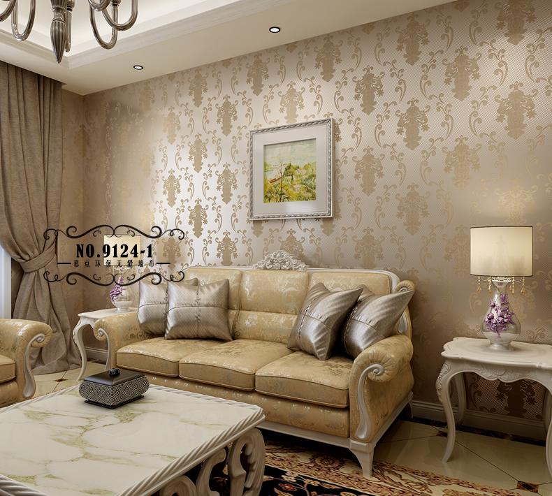 幕点无缝墙布 简约欧式卧室客厅款 偏现代欧式简欧环保无缝壁布 9124图片