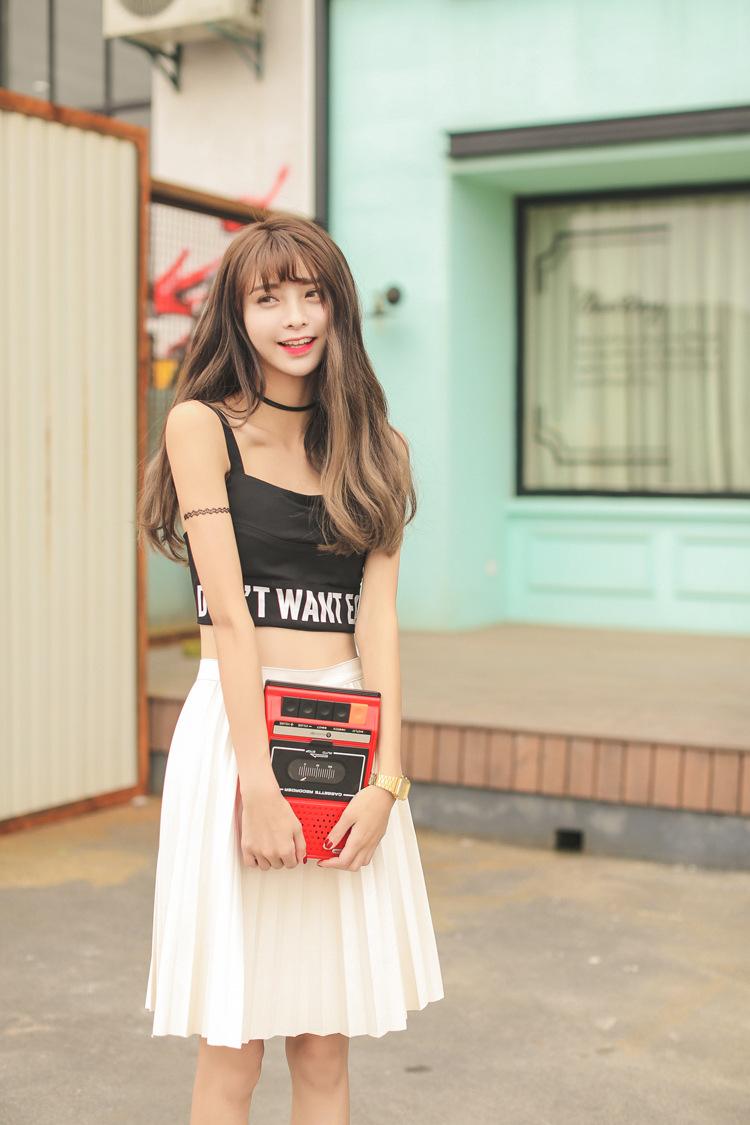 花田雅织韩国2015百搭英文字母小可爱胸衣小背心短款抹胸裹胸吊带