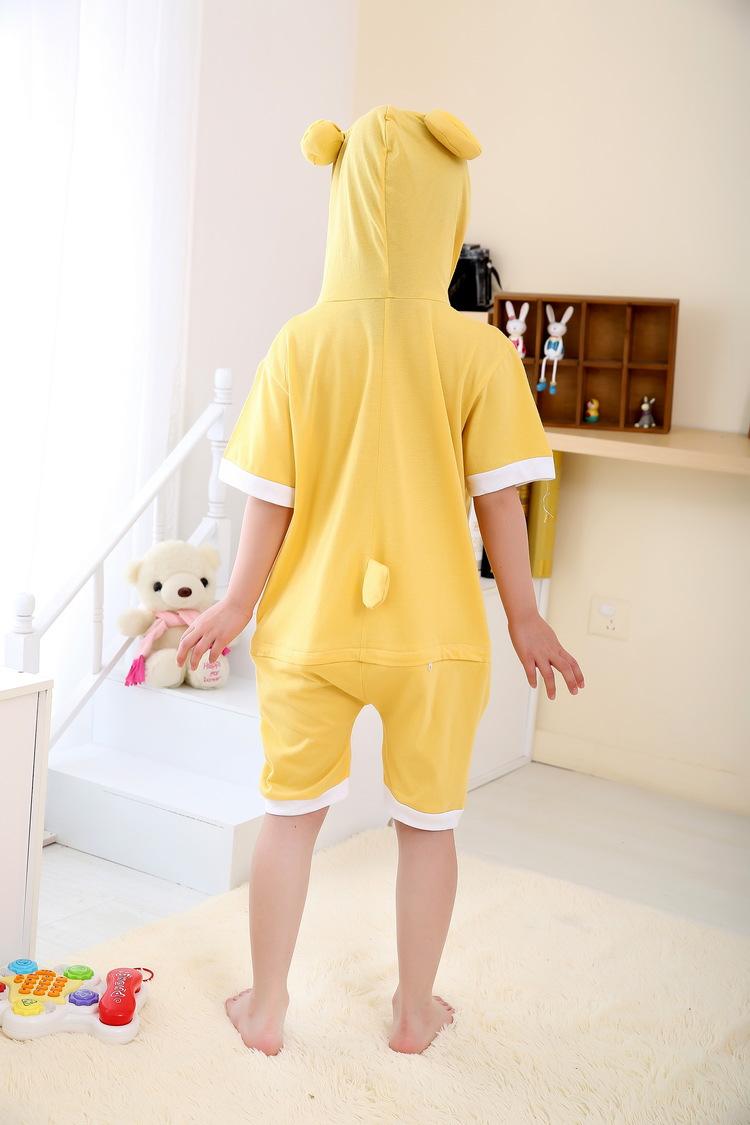 夏季天短袖卡通动物儿童连体睡衣纯棉恐龙猫家居服可爱春秋男女轻松熊