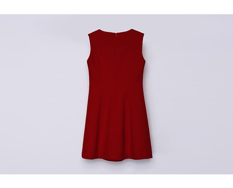 ⑩纳蔻2015秋季新品 简约x廓形肌理无袖女装连衣裙 n115c13021 红色 m图片
