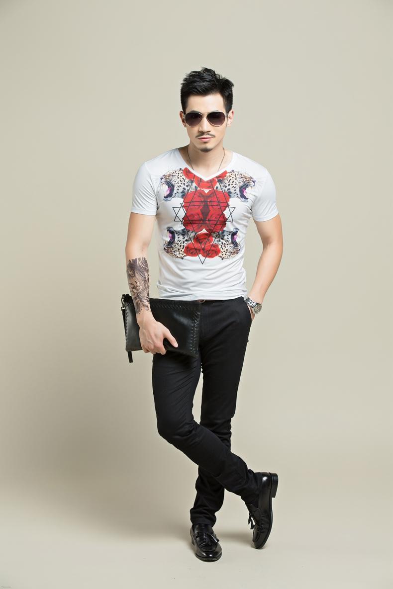 素劲 豹头纹身潮男t恤 2015夏季新款短袖玫瑰印花t恤男 韩版修身青年
