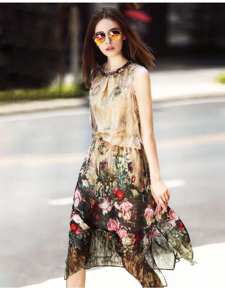 羊奈2015夏季新款女装复古印花裙子中长款无袖连衣裙 杏色 l