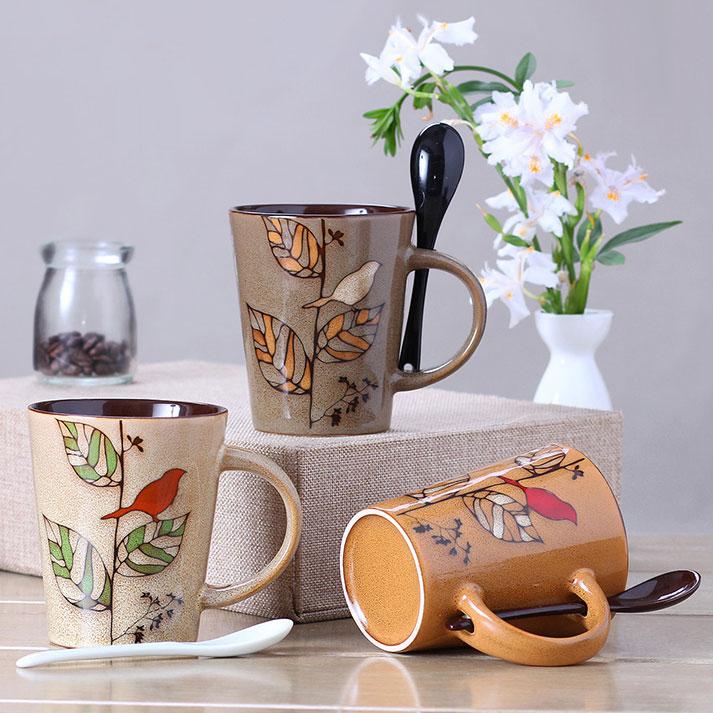 特色手繪陶瓷杯子 復古馬克杯 個性插勺咖啡杯 創意茶水杯情侶對杯