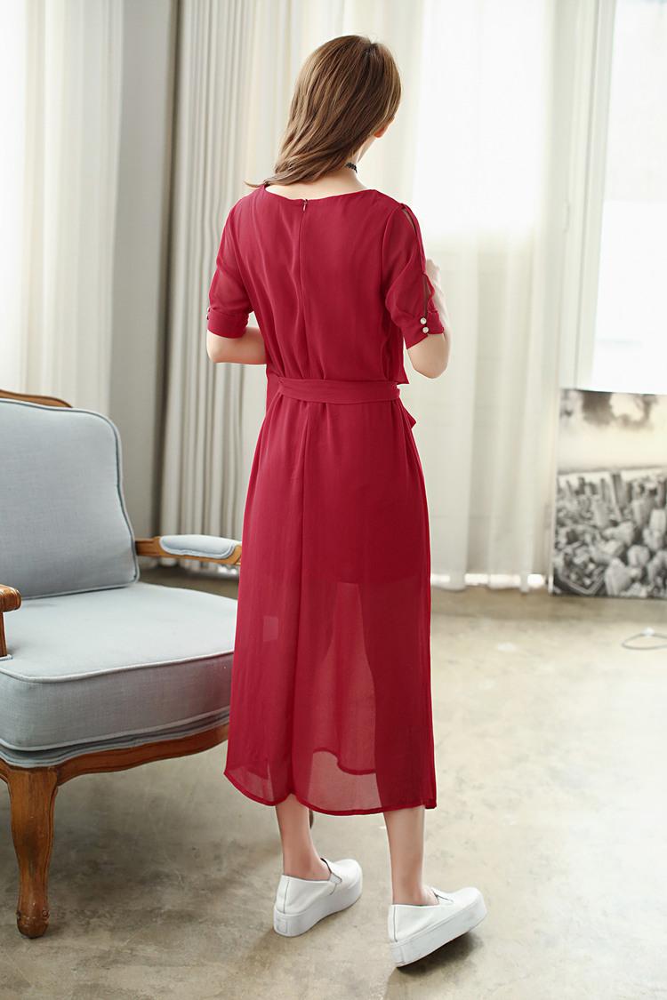 酒红色雪纺连衣裙