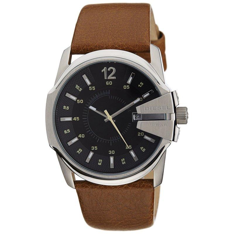 迪赛(diesel)手表 棕色皮表带黑色圆表盘防水夜光石英