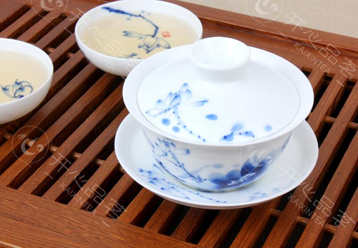 元水堂 茶具 和为贵盖碗 手绘 青花瓷茶碗 功夫 景德镇陶瓷 150ml