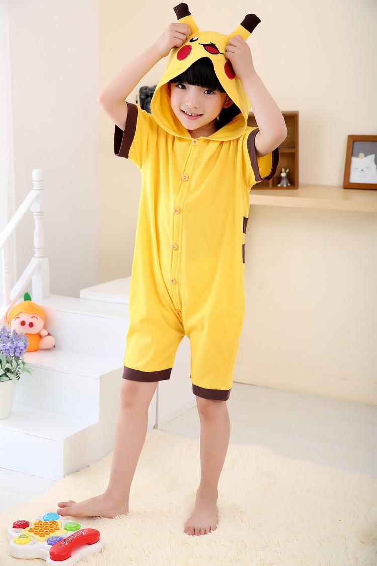 夏天短袖卡通动物儿童连体睡衣纯棉家居服可爱皮卡丘男女孩 图片色