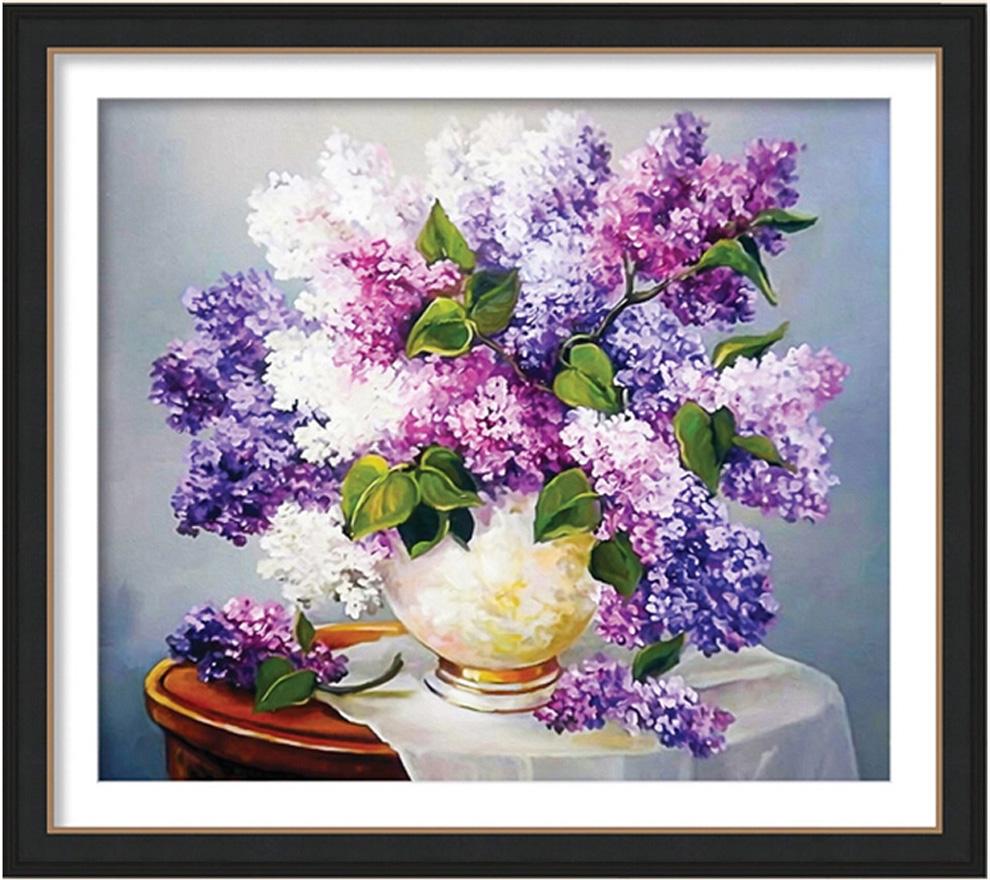 最新款花瓶鉆石十字繡畫 客廳花卉油畫 小幅玄關臥室風景圖 5d立體圓