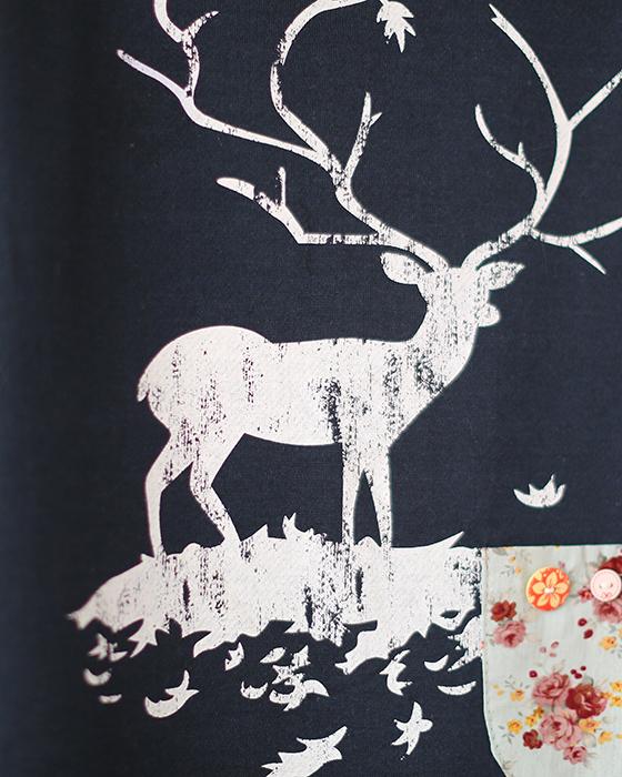 花田雅织花田2015秋女装森系甜美麋鹿印花拼碎花圆领卫衣t恤 蓝黑色图片