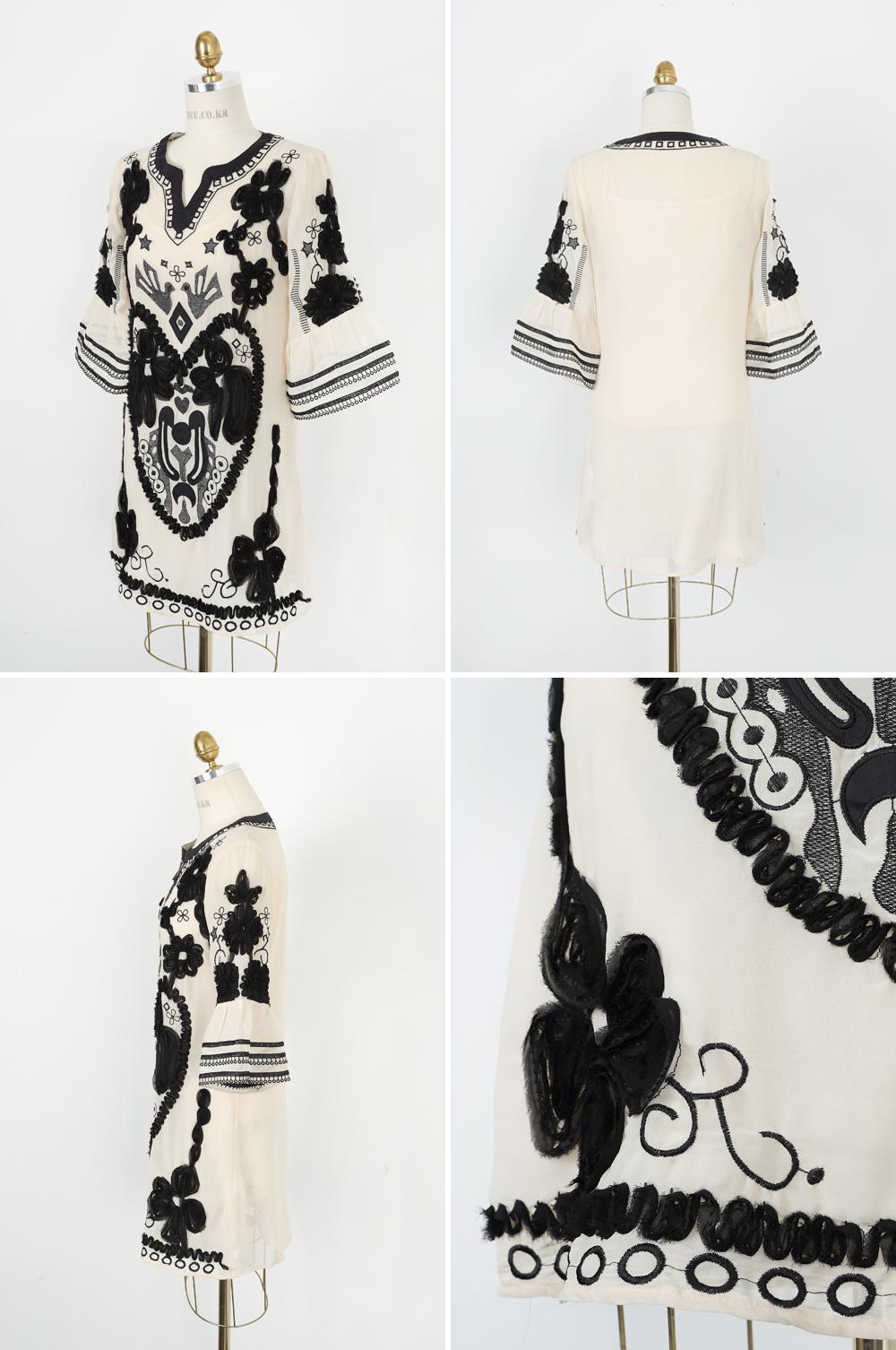 黑白中袖时尚大码民族风连衣裙0101
